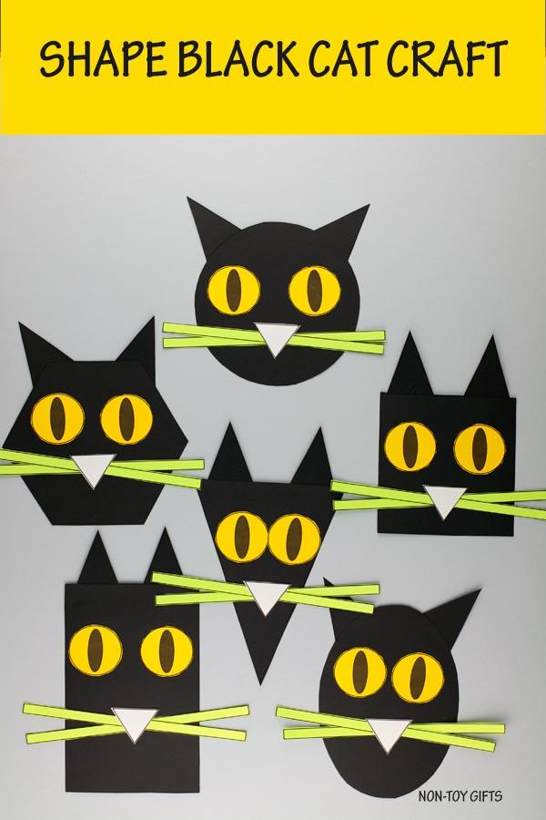 Shape black cat craft for preschoolers and older kids