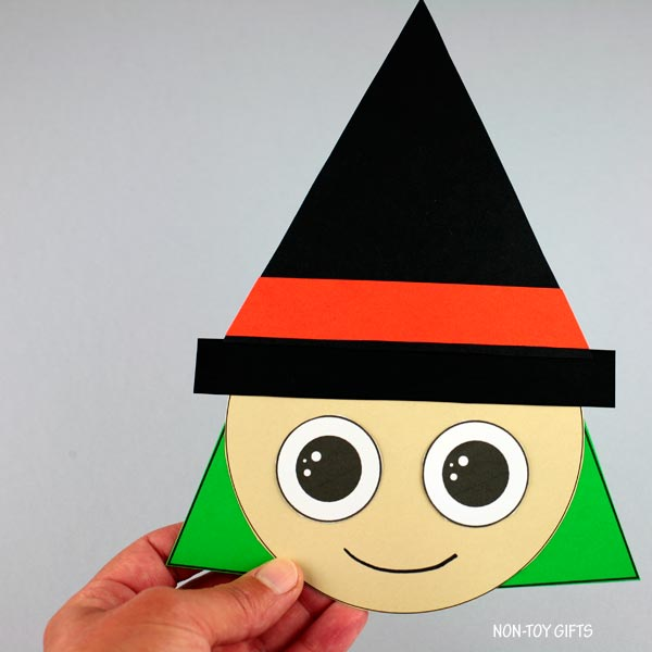 Shape witch craft for preschoolers and older kids to make for Halloween